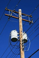 utility pole with transformers